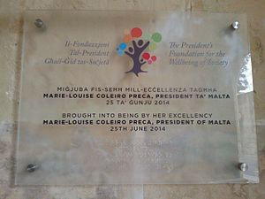 The President's Foundation for the Wellbeing of Society - The President's Foundation for the Wellbeing of Society - plaque at the Foundation Offices, San Anton Palace