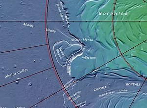 Abalos Mensa - Close-up of USGS map showing the location of Abalos Mensa in Planum Boreum in the vicinity of Rupes Tenuis, showing also Abalos Colles, Abalos Scopuli, and Tenuis Mensa