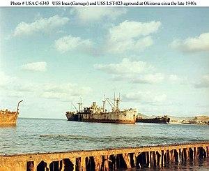 USS Inca (IX-229) - Image: USS Inca (Gamage) aground at Okinawa