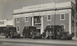 Northern Beaches Council - Warringah Shire Hall in 1954 with the Mackellar County Council offices to the left.