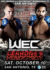 A poster or logo for WEC 43: Cerrone vs. Henderson.