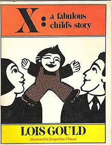 "A woodblock-like image of a happy child standing on the shoulders of two adults, who each look up and smile at it. Above, written in black on orange is the title; below, in black on yellow is ""LOIS GOULD"" and then in orange beneath that is ""illustrated by Jacqueline Chwast""."