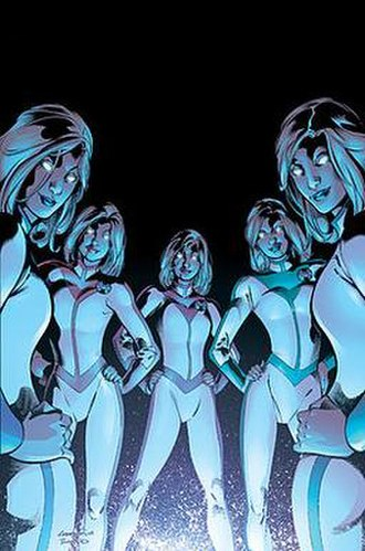Stepford Cuckoos - The House of M Five-in-One Art by Aaron Lopresti.