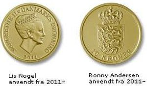 Danish krone - An aluminium bronze 10-kroner coin (2011- series)