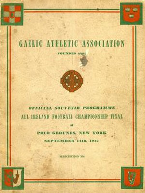 1947 All-Ireland Senior Football Championship Final - Image: 1947 All Ireland Senior Football Championship Final programme