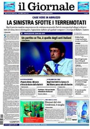 Il Giornale - Image: 20090915 ilgiornale frontpage