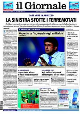 Il Giornale - Front page, 15 September 2009