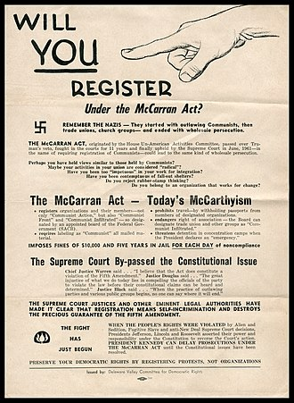 81st United States Congress - Civil libertarians and radical political activists considered the McCarran Act to be a dangerous and unconstitutional infringement of political liberty, as exemplified in this 1961 poster.