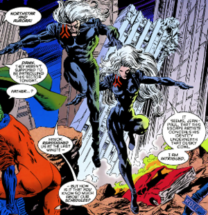 Northstar - Northstar and Aurora in the Age of Apocalypse. Art by Steve Epting.