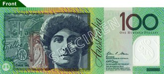 Australian one hundred-dollar note - Image: Australian $100 polymer front