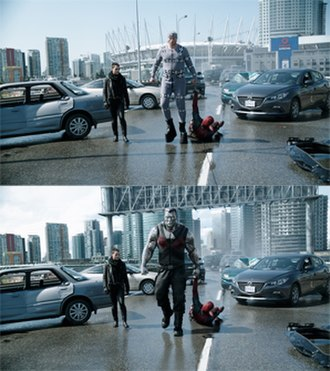 Deadpool (film) - Top: Andre Tricoteux on-set as Colossus, wearing a gray tracking suit. Bottom: Completed shot, with CG Colossus by Digital Domain and environment by Atomic Fiction.