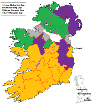 All-Ireland Senior Hurling Championship records and statistics - Counties coloured by 2012 Championship tier