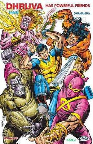Super Commando Dhruva - Dhruva's allies clockwise from top left- Samri, Dhananjay, Kirigi and Jingaloo