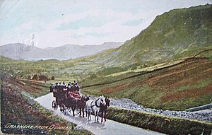 Dunmail Raise - A horse-drawn coach passes northwards over Dunmail Raise in the late 19th or early 20th century