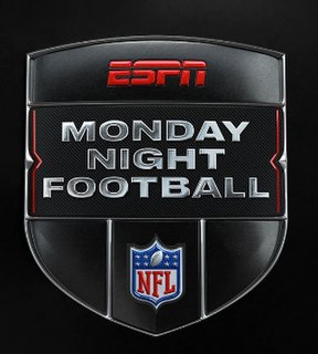 <i>Monday Night Football</i> Live television broadcast of weekly National Football League (NFL) games