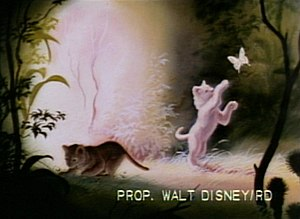 Kimba the White Lion - Screenshot from an early presentation reel of The Lion King that shows a white lion cub and a butterfly.