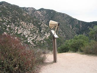 "Echo Mountain - Replica of an ""echophone"" mounted over the edge of Castle Canyon for visitors' use. The few echophones that still exist are part of personal or museum collections."