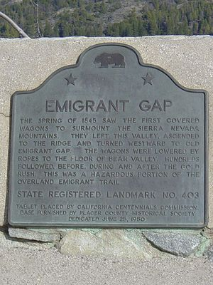 Emigrant Gap - Landmark marker, Emigrant Gap.