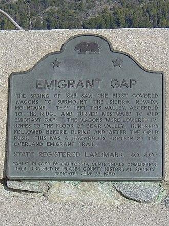 Emigrant Gap - Landmark marker, Emigrant Gap.