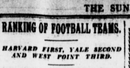 First ever year-end college football ranking from The Sun newspaper (1901)