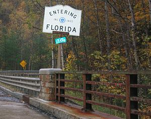 Florida, Massachusetts - The official town line marker as seen from Route 2