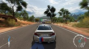 Forza Horizon 3 - Forza Horizon 3 allows players to race in a fictional representation of Australia. Here the player drives a BMW M4 to a destination.