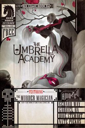 "The Umbrella Academy - Cover of the 2007 Dark Horse Comics Free Comic Book Day issue, featuring the first printed story of The Umbrella Academy, ""…But the Past Ain't Through With You."""