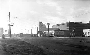 The Garneau Theatre's north face shortly after completion in 1940.