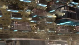 Gridlock (Doctor Who) - Millions of flying cars are held in gridlock on a futuristic motorway filled with car fumes.