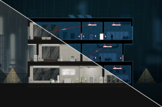 Gunpoint (video game) - Gunpoint is normally shown to the player as in the bottom left of the above screenshot, showing a cross-section of the building. When in Crosslink mode, shown on the upper right, much of the building is shown in silhouette to highlight circuits and how devices are connected to those circuits (red lines). The player can manipulate these to sneak around the building to complete missions.