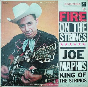 "Joe Maphis - Cover of Joe Maphis' album ""Fire on the Strings"", published in 1957"