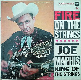 """Joe Maphis - Cover of Joe Maphis' album """"Fire on the Strings"""", published in 1957"""