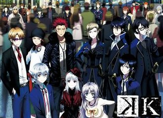 K (anime) - Promotional artwork for the anime featuring the main cast of characters.