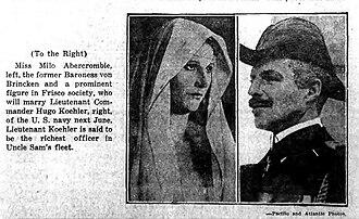 Wilhelm von Brincken - False report of LCDR Hugo W. Koehler's engagement to marry Milo Abercrombia, October 1925