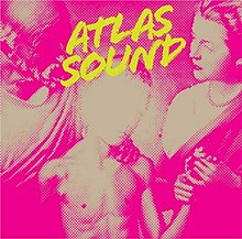 "Album cover depicting a doctor examining a young boy, who is holding his mother's hand.  A camera flash obscures the face of the boy, and the entire image is tinted a purple color.  The words ""Atlas Sound"" are printed in a slanted yellow font at the top and center of the cover."