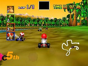 Mario Kart 64 - Racing on D.K.'s Jungle Parkway, the first course of the Special Cup. Mario Kart 64 is the first game in the series to use 3D computer graphics.