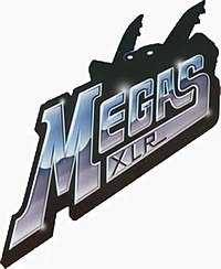 "An image with silver-colored letters saying ""Megas XLR"" and a black robot-like shape in the background"