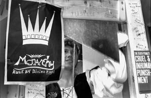 Monarchy Party - Andrew Arvesen and the Monarchy Party guillotine. September 27, 1989