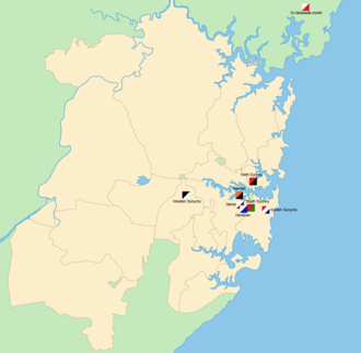 1909 NSWRFL season - The geographical locations of the teams that contested the 1909 premiership across Sydney.