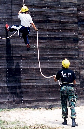 National Cadet Corps (Singapore) - Cadets taking part in a Rappelling training.