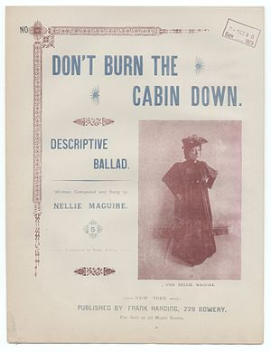 Frank Harding - Cover of an 1894 piece of sheet music published by Frank Harding, Don't burn the cabin down by Nellie McGwire.