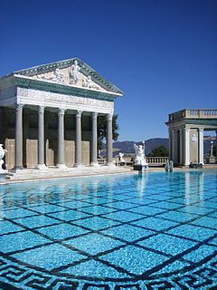 Outdoor swimming pool ensemble at Hearst Castle, in San Simeon, California
