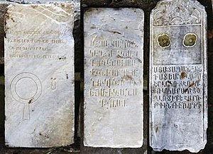 Anti-Armenian sentiment - Armenian tombstones from the Pangaltı Armenian Cemetery, discovered in 2013 during the excavations for the pedestrianization project of Taksim Square. The cemetery was located on the northern section of Taksim Gezi Park.