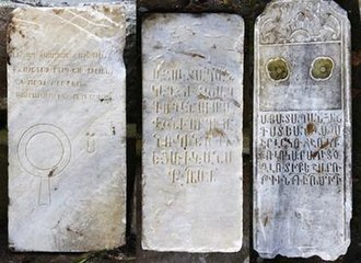 Confiscation of Armenian properties in Turkey - Armenian tombstones from the Pangaltı Armenian Cemetery, discovered in 2013 during the excavations for the pedestrianization project of Taksim Square. The cemetery was located on the northern section of Taksim Gezi Park.