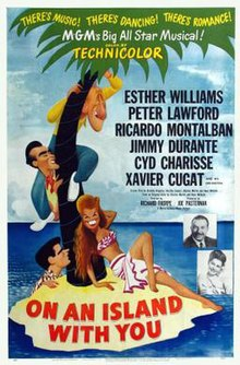 Theatrical release poster featuring caricatures of Esther Williams, Peter Lawford, Ricardo Montalbán and Jimmy Durante.