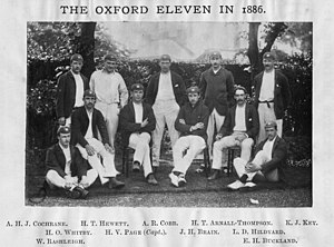 Herbie Hewett - Hewett (back row, second from the left) with the Oxford University cricket team in 1886