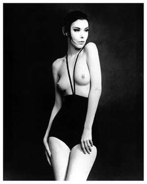 Rudi Gernreich - This image of Peggy Moffitt modeling Gernreich's monokini was initially published in Women's Wear Daily on June 4, 1964.