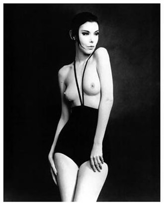Monokini - This iconic image of Peggy Moffitt modeling Gernreich's monokini was initially published in Women's Wear Daily on June 3, 1964.
