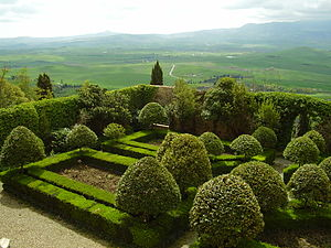 Pienza - The Piccolomini gardens and Val d'Orcia.