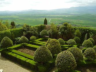 Pienza - The Piccolomini gardens and Val d'Orcia.